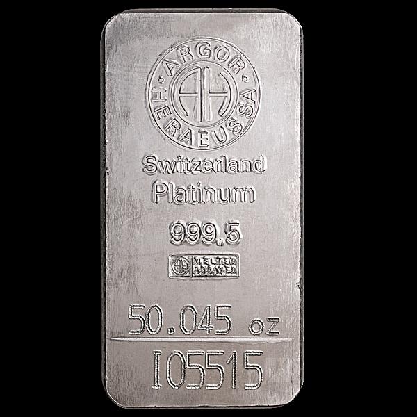 Argor-Heraeus Platinum Bar - 50.045 oz