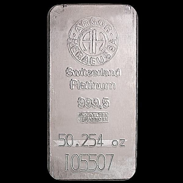 Argor-Heraeus Platinum Bar - 50.254 oz