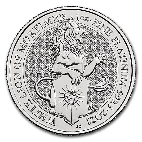 United Kingdom Platinum Queen's Beast 2021 - The White Lion - 1 oz