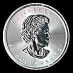 Canadian Platinum Maple Leaf 2021 - 1 oz  thumbnail