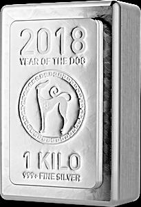Heraeus Silver Lunar Stacker Bar 2018 - Year of the Dog - 1 kg