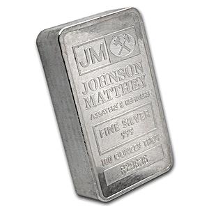 Johnson Matthey Silver Bar - Pressed - Serial Numbered Bar/Box - 100 oz