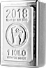 Heraeus Silver Lunar Stacker Bar 2018 - Year of the Dog - 1 kg