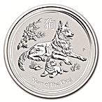 Australian Silver Lunar Series 2018 - Year of the Dog - 1/2 oz thumbnail