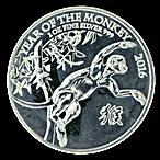 United Kingdom Silver Lunar Series 2016 - Year of the Monkey - 1 oz thumbnail