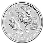 Australian Silver Lunar Series 2017 - Year of the Rooster - 1/2 oz thumbnail
