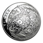 Niue Silver Hawksbill Turtle 2014 - Circulated in Good Condition - 5 oz thumbnail