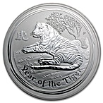 Australian Silver Lunar Series 2010 - Year of the Tiger - 1 kg thumbnail