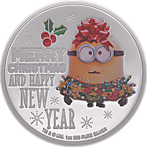 Niue Silver Christmas Despicable Me Minion Made Seasons Greetings - 1 oz
