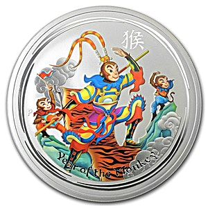 Australian Silver Monkey King 2016 - 5 oz - Colorized