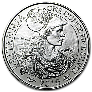 United Kingdom Silver Britannia  2010 - Circulated in Good Condition - 1 oz