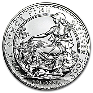 United Kingdom Silver Britannia 2005 - Circulated in Good Condition - 1 oz