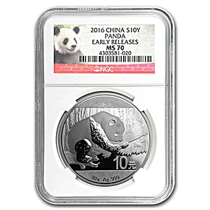 Chinese Silver Panda 2016 - Graded MS 70 by NGC - 30 g