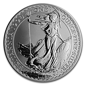 United Kingdom Silver Britannia 1998 - Circulated in Good Condition - 1 oz