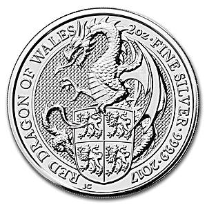 United Kingdom Silver Queen's Beast 2017 - Dragon - 2 oz
