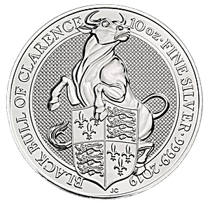 United Kingdom Silver Queen's Beast 2019 - Black Bull - 10 oz