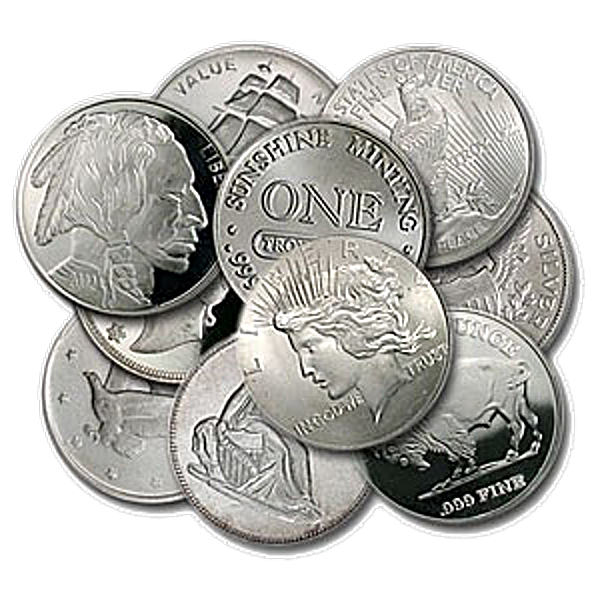 Generic Silver Rounds - Various Designs - 1 oz