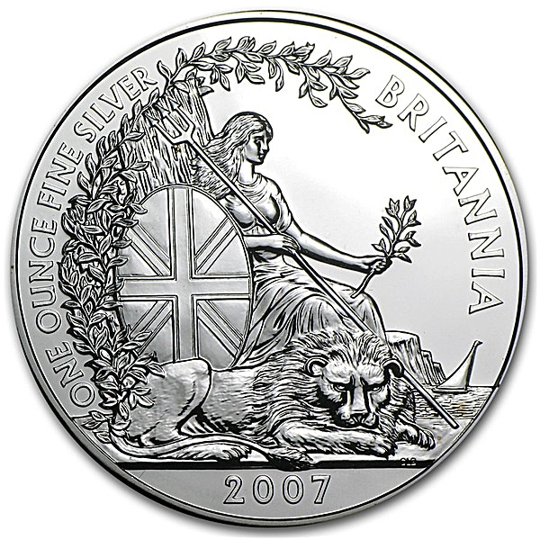 United Kingdom Silver Britannia 2007 - Circulated in Good Condition - 1 oz