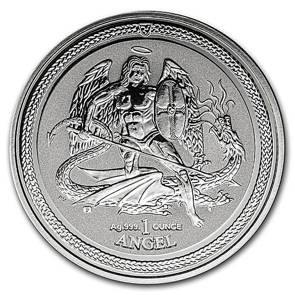 Isle of Man Silver Angel 2016 - Circulated in Good Condition - Reverse Proof - 1 oz