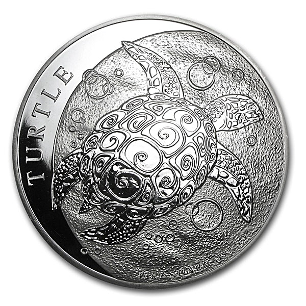 Niue Silver Hawksbill Turtle 2014 - Circulated in Good Condition - 5 oz
