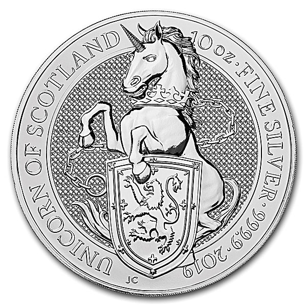 United Kingdom Silver Queen's Beast 2019 - Unicorn - 10 oz