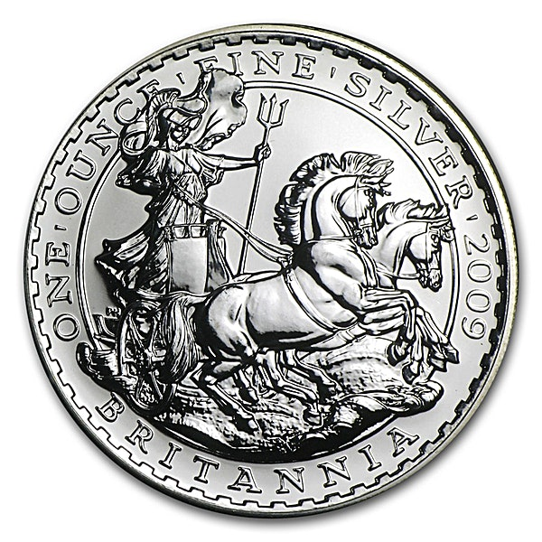 United Kingdom Silver Britannia  2009 - Circulated in Good Condition - 1 oz