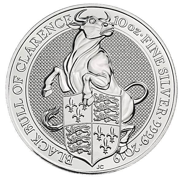United Kingdom Silver Queen's Beast 2019 - Black Bull - 10 oz