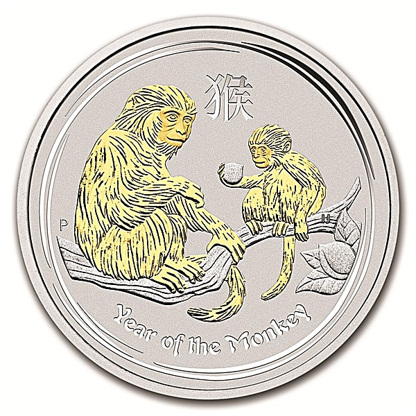 Australian Silver Lunar Series 2016 - Year of the Monkey - Circulated in Good Condition - Gilded - 1 oz