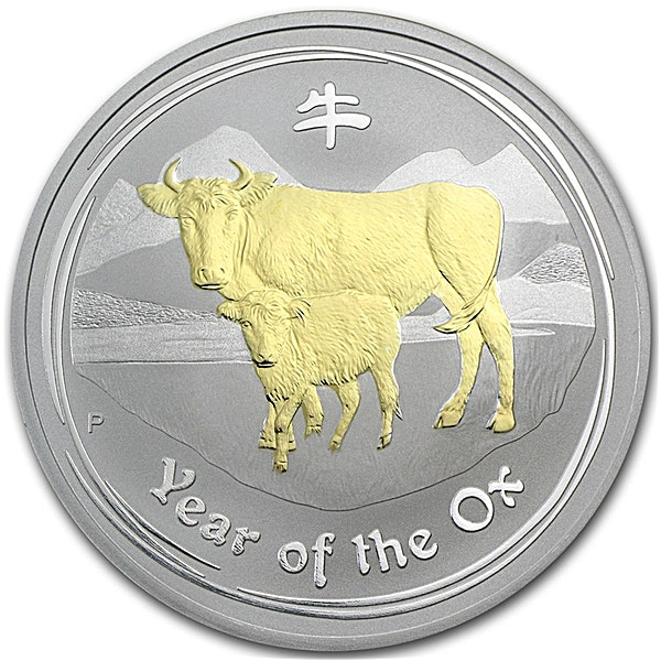 Australian Silver Lunar Series 2009 - Year of the Ox - Circulated in Good Condition - Gilded - 1 oz