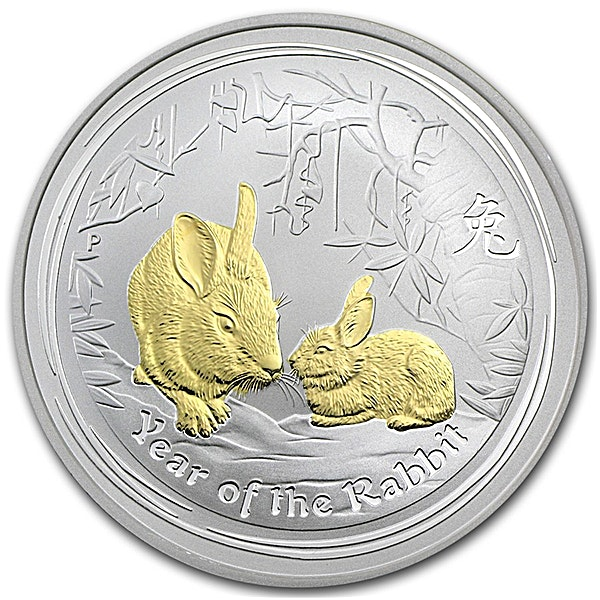 Australian Silver Lunar Series 2011 - Year of the Rabbit - Circulated in Good Condition - Gilded - 1 oz