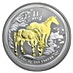 Australian Silver Lunar Series 2014 - Year of the Horse - Circulated in Good Condition - Gilded - 1 oz thumbnail