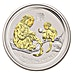 Australian Silver Lunar Series 2016 - Year of the Monkey - Circulated in Good Condition - Gilded - 1 oz thumbnail