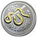 Australian Silver Lunar Series 2013 - Year of the Snake - Circulated in Good Condition - Gilded - 1 oz thumbnail