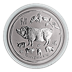 Australian Silver Lunar Series 2019 - Year of the Pig - 1 oz thumbnail
