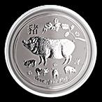 Australian Silver Lunar Series 2019 - Year of the Pig - 2 oz thumbnail