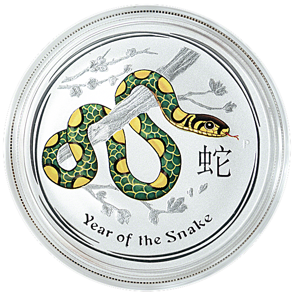 Australian Silver Lunar Series 2013 - Year of the Snake - Colourized - 1 oz