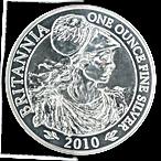United Kingdom Silver Britannia  2010 - Circulated in Good Condition - 1 oz  thumbnail