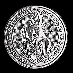 United Kingdom Silver Queen's Beast 2018 - Unicorn - 2 oz