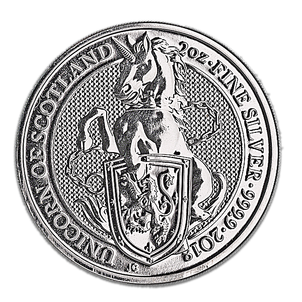 United Kingdom Silver Queen's Beast 2018 - Unicorn - 2 oz