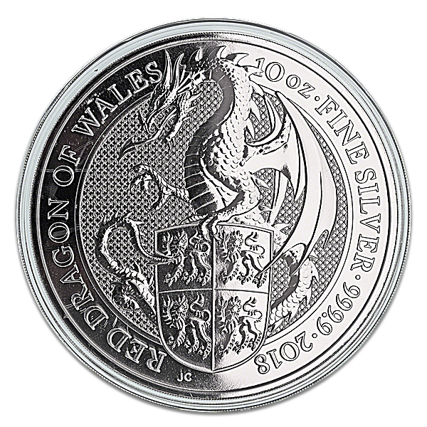 United Kingdom Silver Queen's Beast 2018 - Dragon - 10 oz