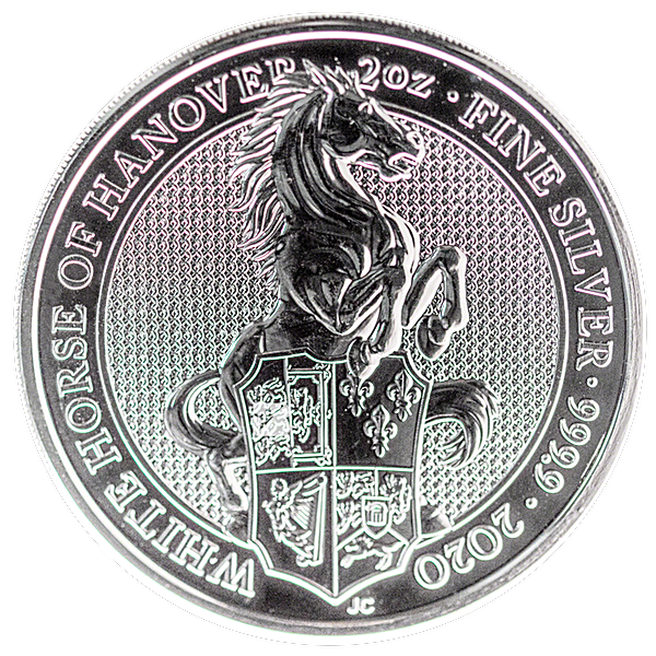 United Kingdom Silver Queen's Beast 2020 - The White Horse of Hanover - 2 oz