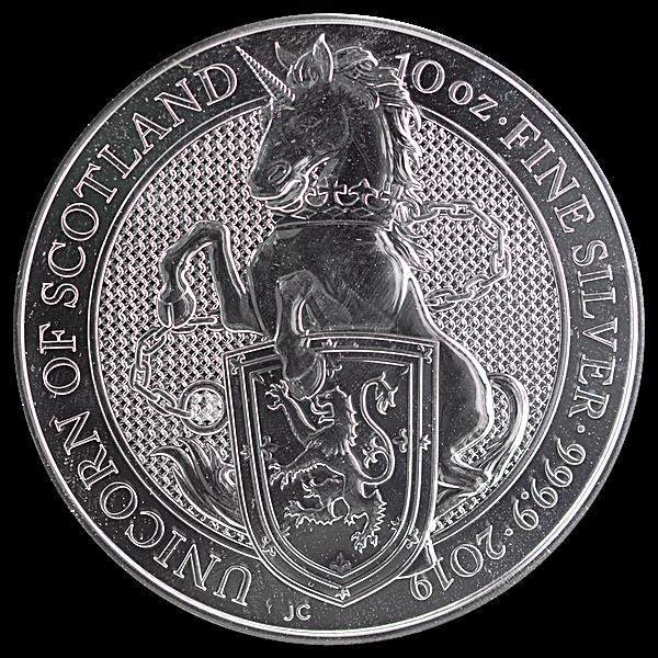 United Kingdom Silver Queen's Beast 2019 - Unicorn - 10 oz
