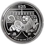 Singapore Mint Silver Lunar Series 2010 - Year of the Tiger - 5 oz thumbnail