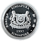 Singapore Mint Silver Piedfort Proof Coin 1997 - Year of the Ox - 2 oz thumbnail