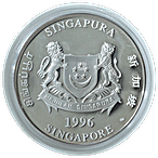Singapore Mint Silver Piedfort Proof Coin 1996 - Year of the Rat - 2 oz thumbnail