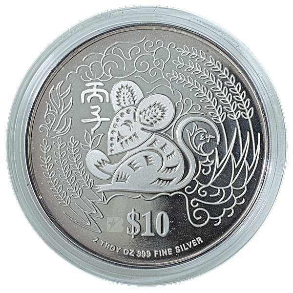 Singapore Mint Silver Piedfort Proof Coin 1996 - Year of the Rat - 2 oz